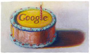 Bolo de aniversário Google